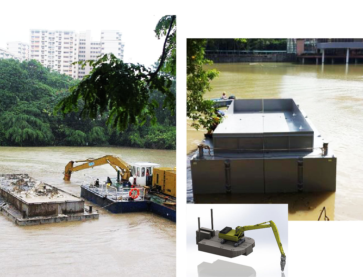 Excavator Mounted Sectional Barge